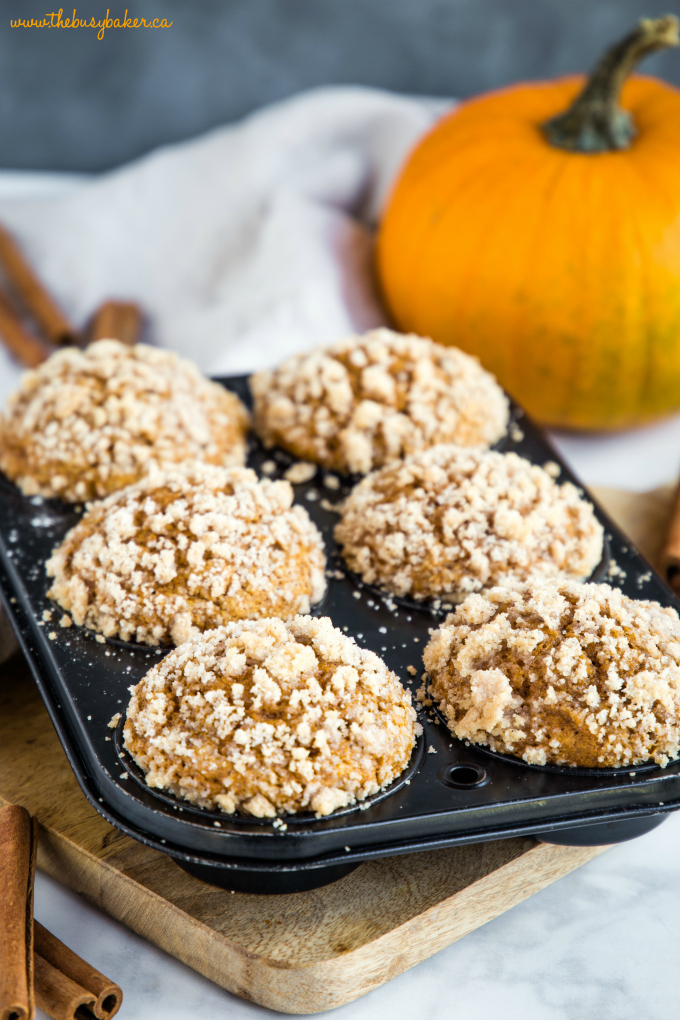 Pumpkin Spice Streusel Muffins in muffin tin