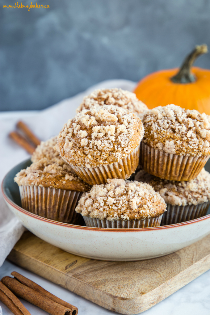 Pumpkin Spice Streusel Muffins in bowl