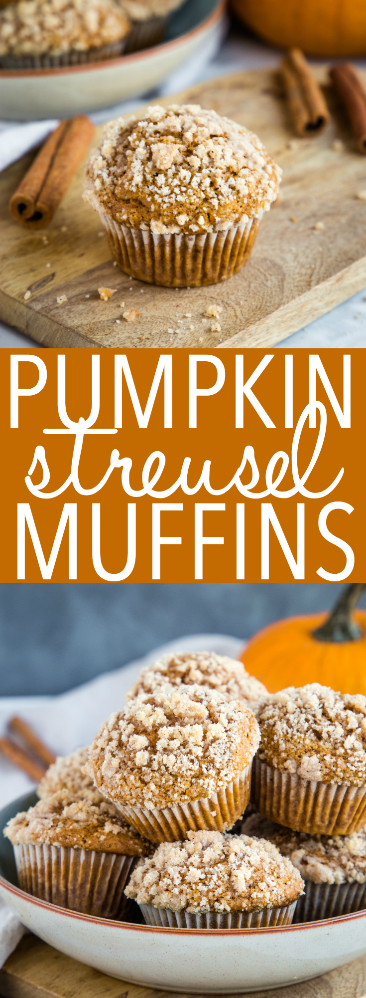 These Pumpkin Spice Streusel Muffins are the perfect fall treat or snack! They're bursting with pumpkin spice flavours and they're so easy to make! Recipe from thebusybaker.ca! #pumpkin #pumpkinspice #fall #autumn #muffins #baking #recipe #foodblog #latte #breakfast #snack #cinnamon #pumpkinpie via @busybakerblog