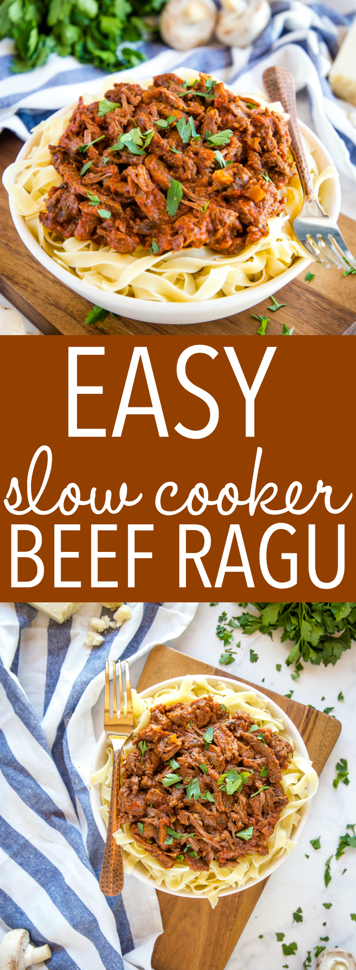 This Easy Slow Cooker Beef Ragu is comfort food at its finest, and a super simple weeknight pasta meal that the whole family will love!  Recipe from thebusybaker.ca! #beef #ragu #pasta #slowcooker #crockpot #easy #meal #family via @busybakerblog