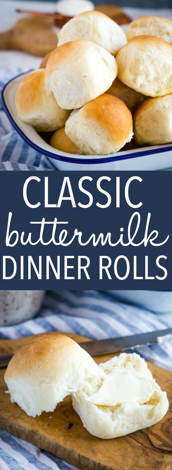These Easy Homemade Classic Buttermilk Buns are the perfect tender dinner roll! A simple buttermilk dough baked to perfection - makes the perfect addition to your holiday dinner! Recipe from thebusybaker.ca! #dinnerrolls #buns #sundaysupper #christmas #thanksgiving #baking #dinner #holidays via @busybakerblog