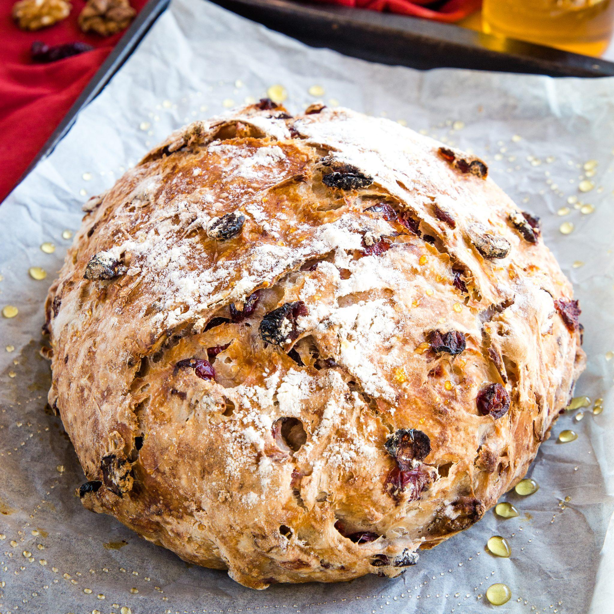 No Knead Cranberry Honey Walnut Artisan Bread The Busy Baker