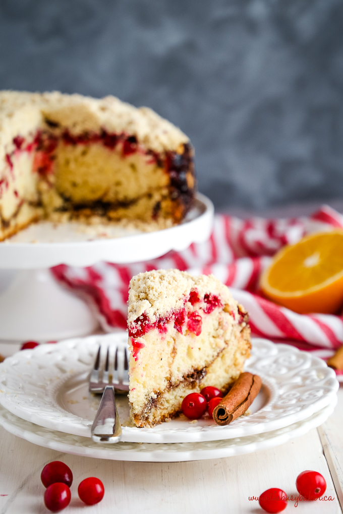 Cranberry Orange Coffee Cake holiday cake on white plate with cinnamon sticks