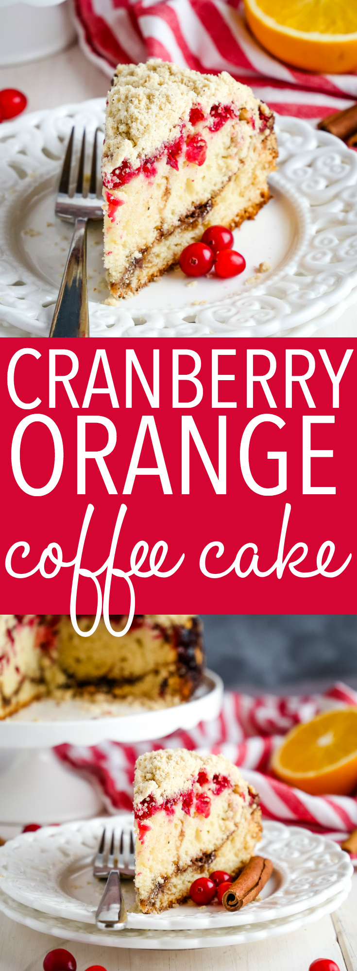 This Cranberry Orange Coffee Cake is perfect for all your holiday brunches! Made with fresh orange, cranberries and a delicious spiced crumble topping! Recipe from thebusybaker.ca! #holiday #brunch #dessert #snack #cake #baking #recipe #orange #cranberry #fresh #fruit #decadent #christmas #thanksgiving #foodblog via @busybakerblog