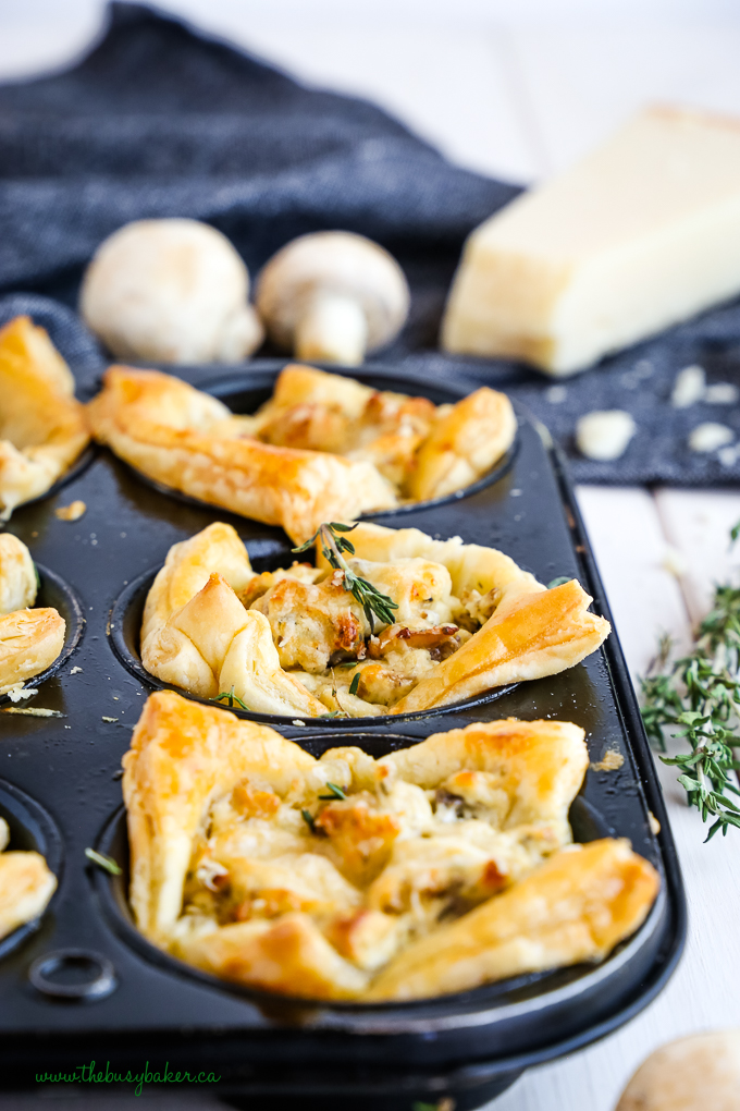 Creamy Parmesan Mushroom Cup Appetizers in muffin tin
