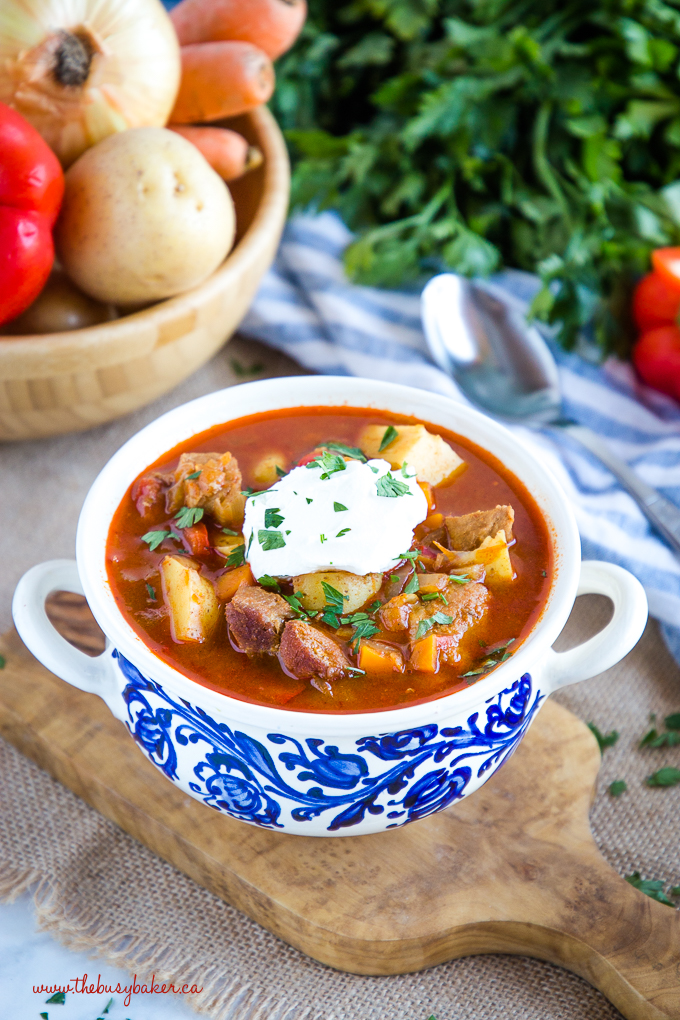 Homemade Hungarian Goulash Soup with root vegetables