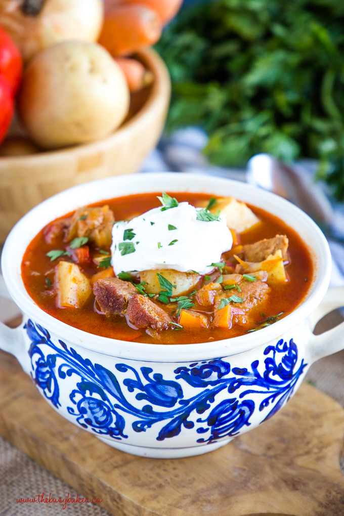 Homemade Hungarian Goulash Soup in Hungarian pottery bowl