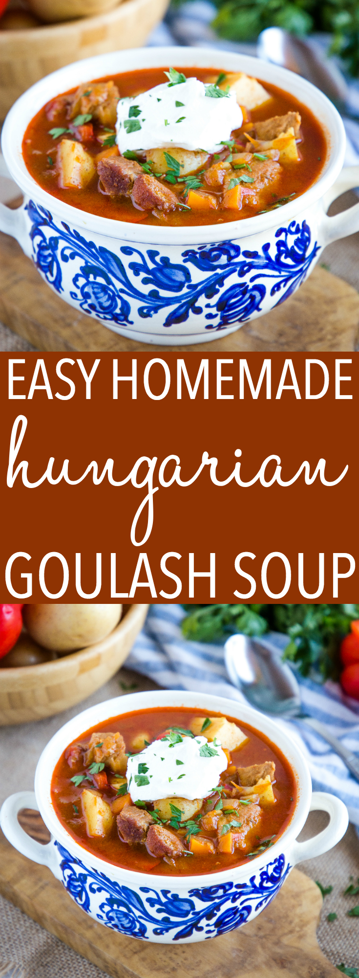 This Homemade Hungarian Goulash Soup recipe is the perfect classic cold-weather soup that's hearty, full of flavour, and so easy to make! Recipe from thebusybaker.ca! #homemade #hungarian #goulash #soup #stew #mealideas #mealprep #pork #easterneuropean #recipe #potatosoup via @busybakerblog