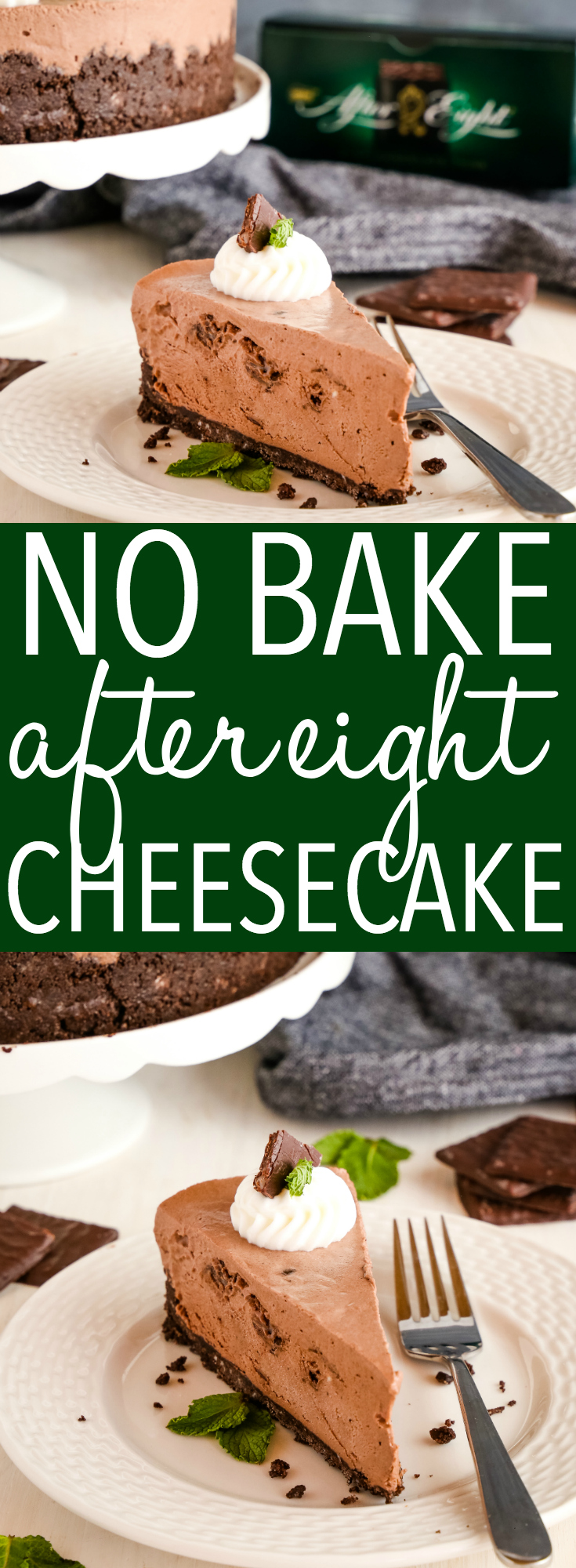 This Easy No Bake After Eight Cheesecake is the perfect decadent dessert for the holidays that's creamy, chocolatey, and packed with chocolate mint candies! Recipe from thebusybaker.ca! #cheesecake #Mint #chocolate #aftereight #peppermintpatty #juniormints #peppermint #nobake #nobakecheesecake #creamy #easyrecipe #christmas #thanksgiving #holidays #cake via @busybakerblog