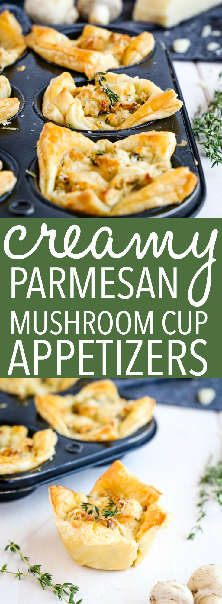 These Creamy Parmesan Mushroom Cup Appetizers are the perfect finger food for New Years Eve and holiday parties. They're easy to make and perfectly savory! Recipe from thebusybaker.ca! #appetizer #mushrooms #puffpastry #newyearseve #holiday #newyears  via @busybakerblog