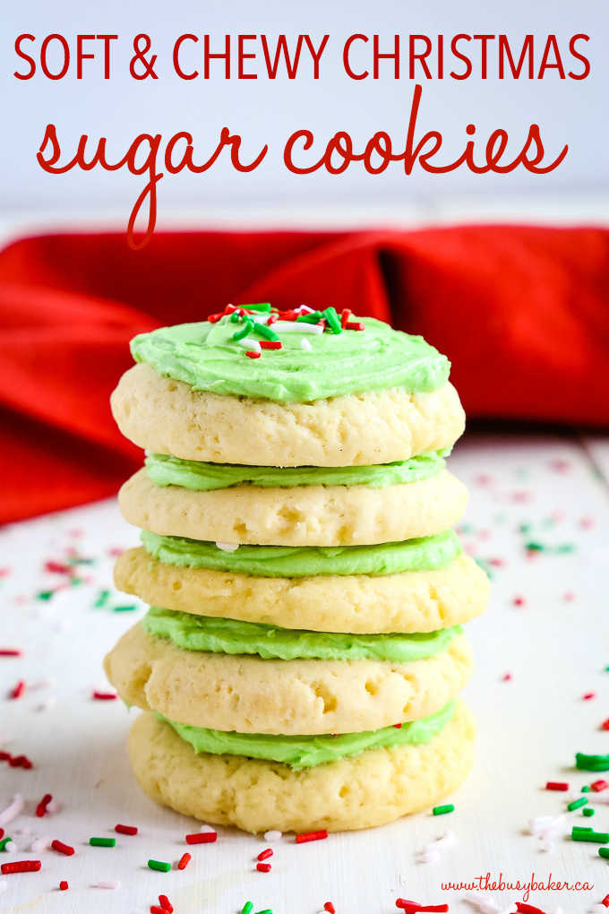 Soft And Chewy Christmas Frosted Sugar Cookies The Busy Baker
