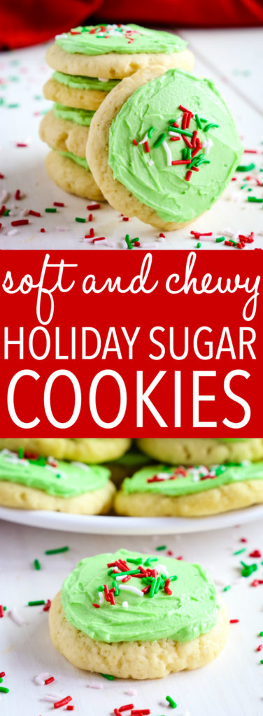 Soft and Chewy Christmas Frosted Sugar Cookies