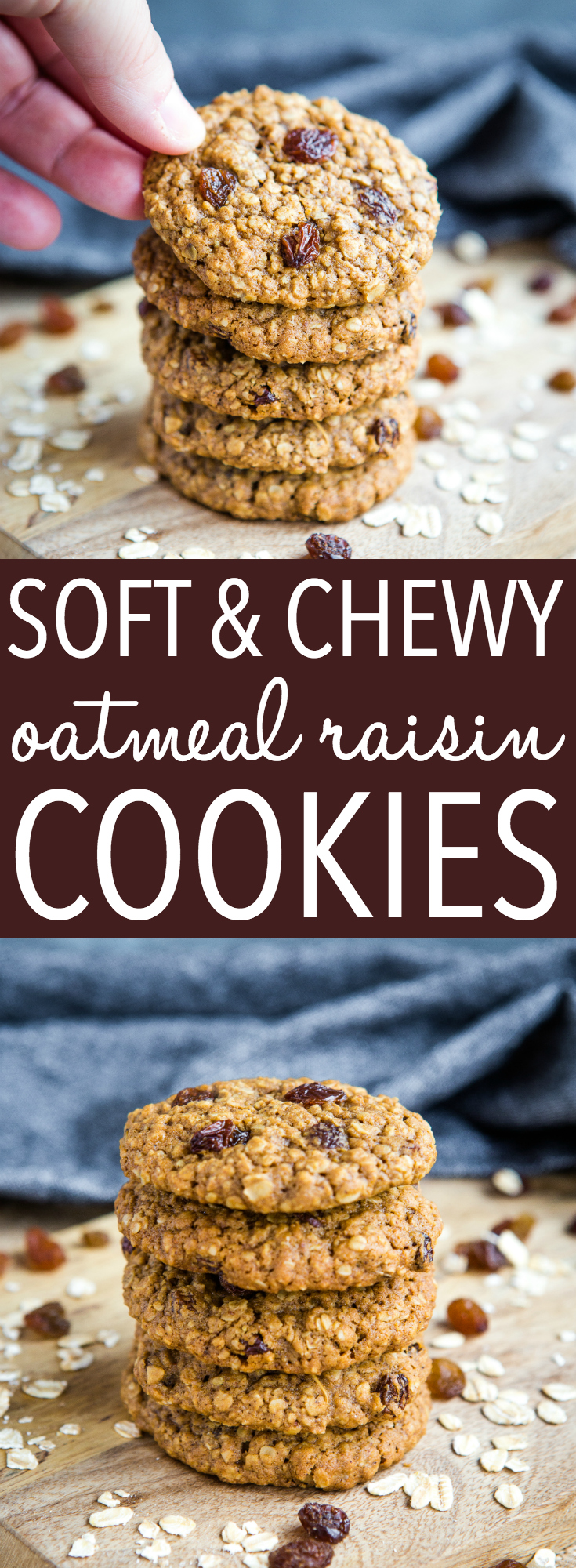 These Soft and Chewy Oatmeal Raisin Cookies are better than grandma's oatmeal cookies - they're sweetened with molasses and made with juicy raisins for an extra chewy cookie! Recipe from thebusybaker.ca! #oatmealcookies #oats #oatmeal #cookies #molasses #sugar #sweet #dessert #baking #homemade #recipe #easyrecipe #raisins via @busybakerblog