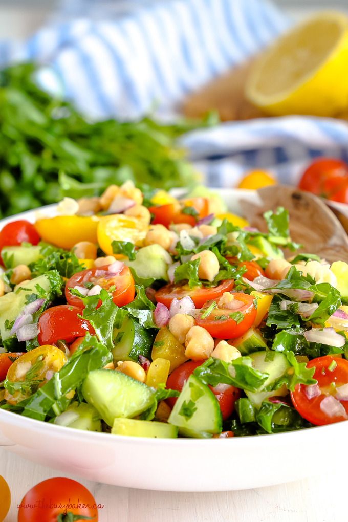 Easy Mediterranean Chickpea Salad with kale