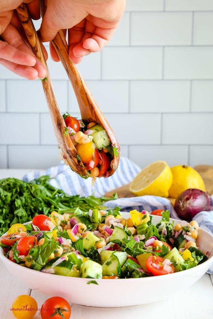 Easy Mediterranean Chickpea Salad in olive wood salad spoons