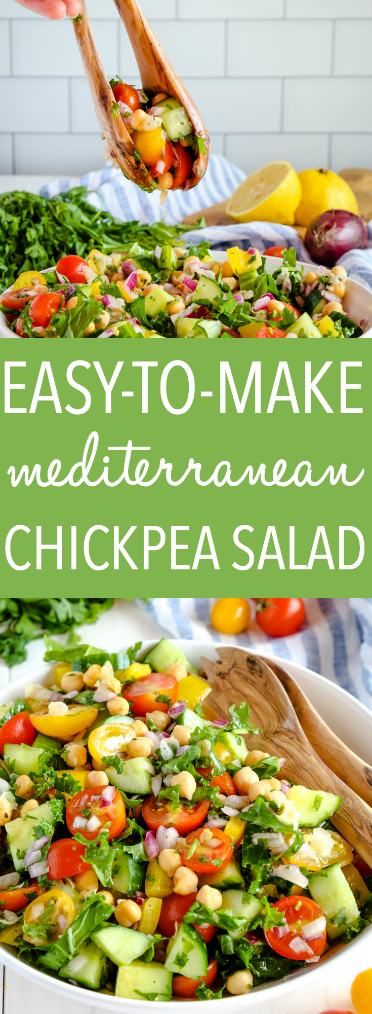 This Easy Mediterranean Chickpea Salad is the perfect make-ahead lunch for busy work or school days, and it makes a great healthy vegetarian side dish or main dish too! Recipe from thebusybaker.ca! #newyearnewyou #recipe #healthy #easy #salad #vegetarian #vegan #lunch #makeahead #chickpeasalad #pulses #cleaneating #eatclean via @busybakerblog