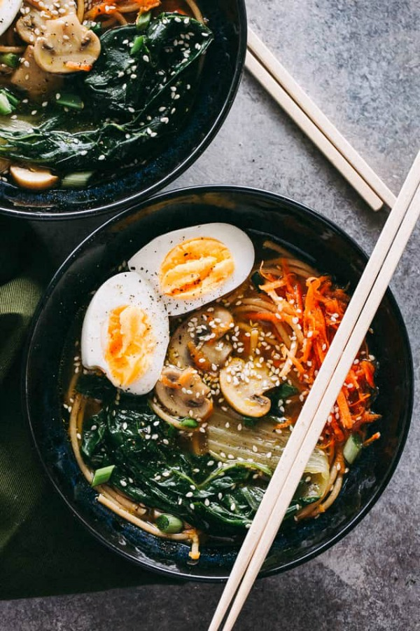 bowl of Asian soba noodle soup