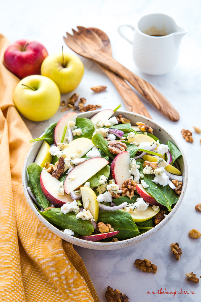 Apple Walnut Spinach Salad with Balsamic Vinaigrette with olive wood salad servers