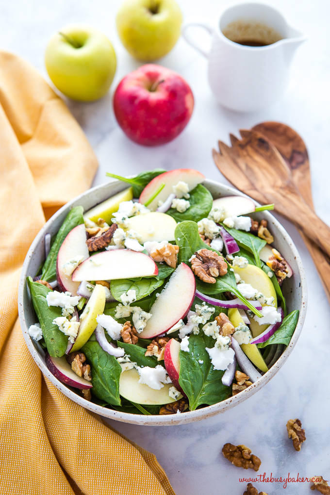 Apple Walnut Spinach Salad with Balsamic Vinaigrette Dressing
