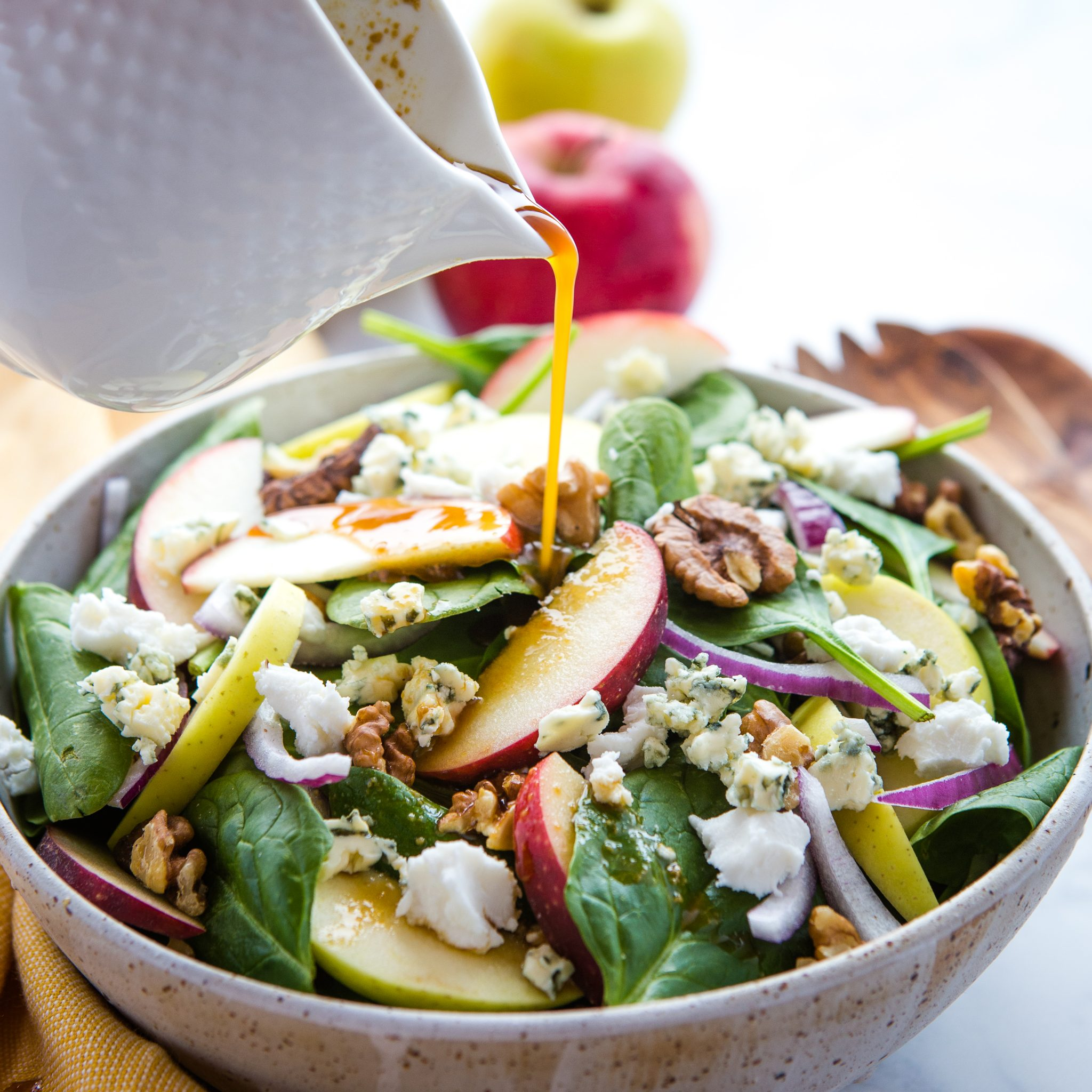 Apple Walnut Spinach Salad With Balsamic Vinaigrette The Busy Baker