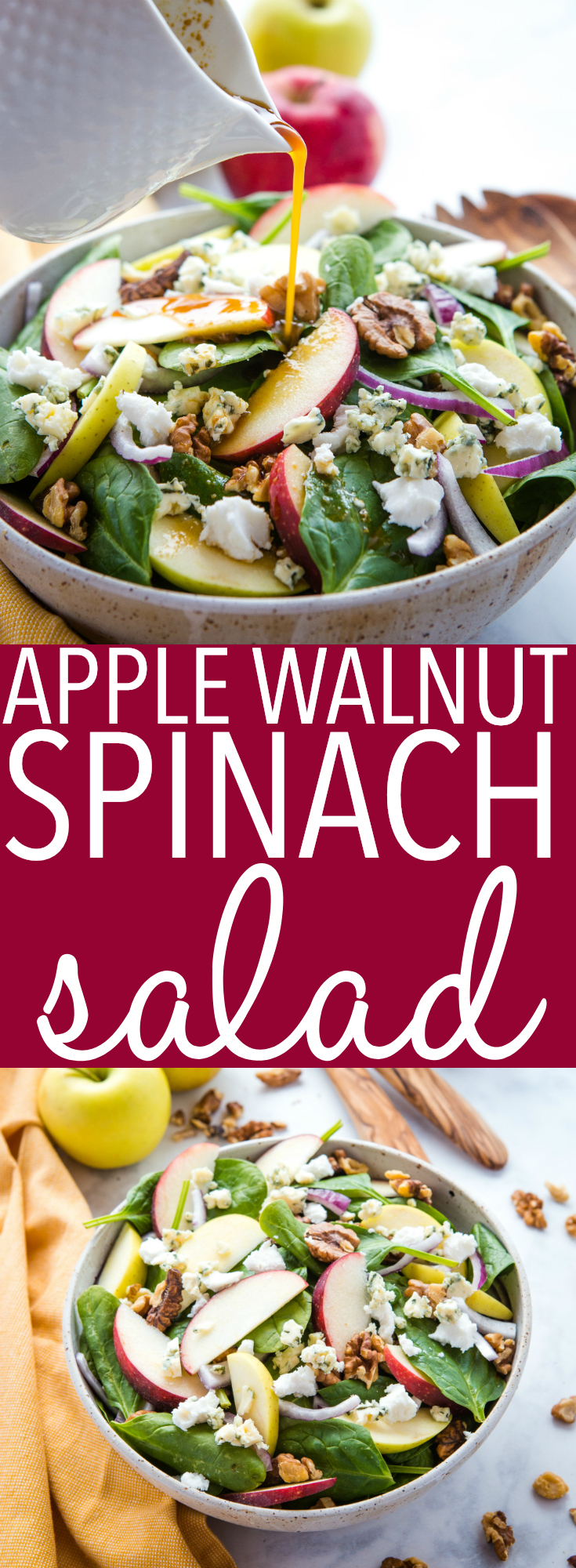 This Apple Walnut Spinach Salad with Balsamic Vinaigrette Dressing is a delicious winter salad recipe that's packed with healthy greens, fruit, nuts, sweet onions, sharp blue cheese and buttery goat cheese, all topped with a sweet balsamic salad dressing! Recipe from thebusybaker.ca! #winter #salad #goatcheese #bluecheese #apples #green #eattherainbow #healthy #lunch #mealprep #balsamic #homemadesaladdressing via @busybakerblog