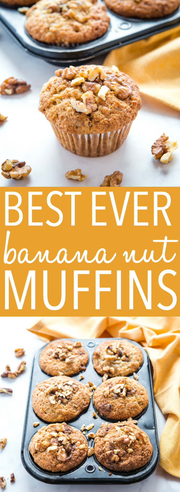 These Best Ever Banana Nut Muffins are the BEST banana muffins you'll ever make, with a delicious and sweet walnut topping! They're crispy on the outside, soft and fluffy on the inside, and they turn out perfectly every single time! Recipe from thebusybaker.ca! #muffins #bestmuffinrecipe #recipe #walnuts #banananutmuffins #nuts #easy #baking #bakingforbeginners via @busybakerblog