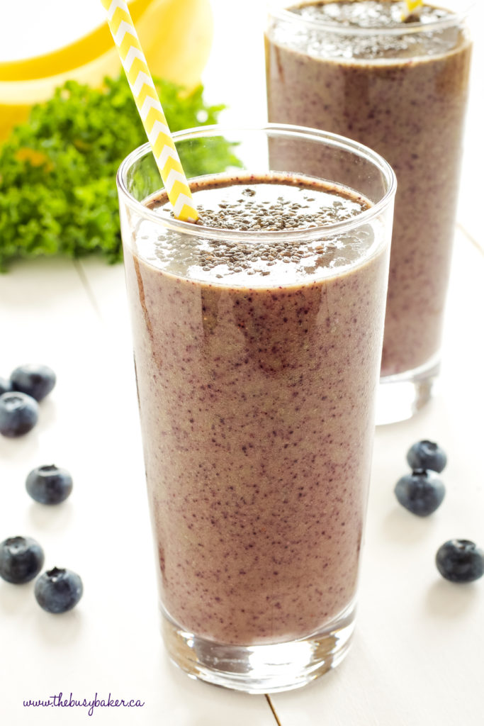 Blueberry Kale Power Smoothie with kale and chia seeds