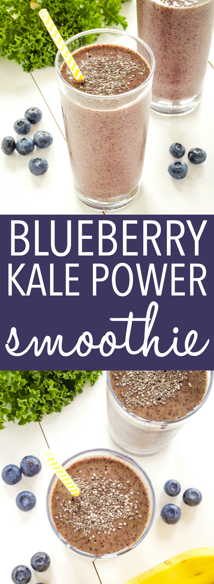 This Blueberry Kale Power Smoothie is the perfect healthy breakfast or snack that's packed with nutrition! Make it dairy-free and vegan! Recipe from thebusybaker.ca! #smoothie #healthy #newyearnewyou #kale #blueberry #chiaseeds #vegan #dairyfree #easyrecipe #diet via @busybakerblog