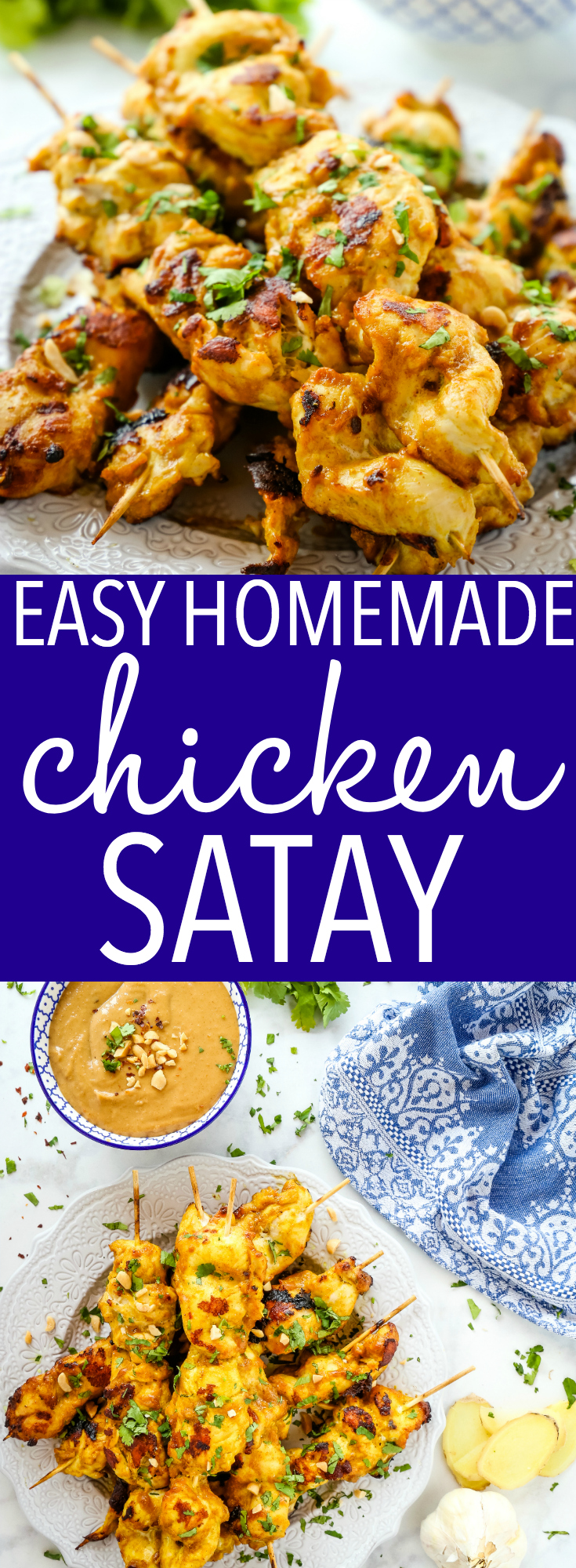 This Easy Homemade Chicken Satay with Peanut Dipping Sauce is a delicious way to enjoy Indonesian food at home! It's easy to make with a super simple marinade and creamy peanut sauce made from basic pantry ingredients! #chicken #satay #indonesian #food #thai #skewers #appetizer #dinner #maindish #grilling via @busybakerblog