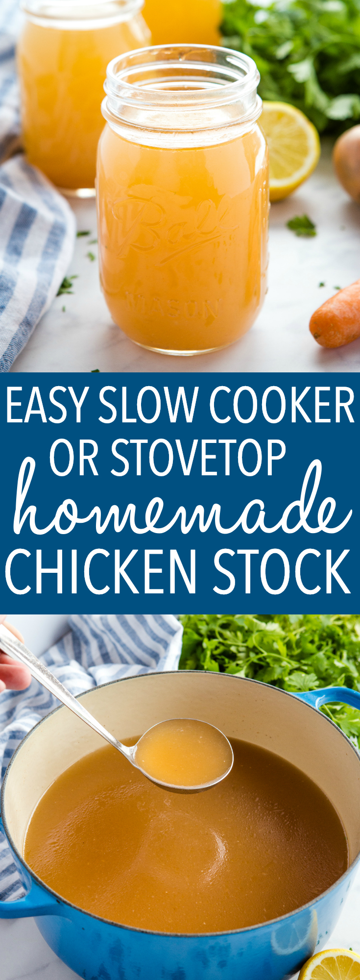 This Easy Homemade Chicken Stock is the perfect recipe for making Chicken broth or stock at home! Make it on the stovetop or in the slow cooker to save time and money! Recipe from thebusybaker.ca! #chickenstock #chickenbroth #chicken #soup #easy #recipe #homemade #savemoney #savetime #slowcooker #crockpot #healthy #lowfat #weightwatchers #keto #paleo  via @busybakerblog