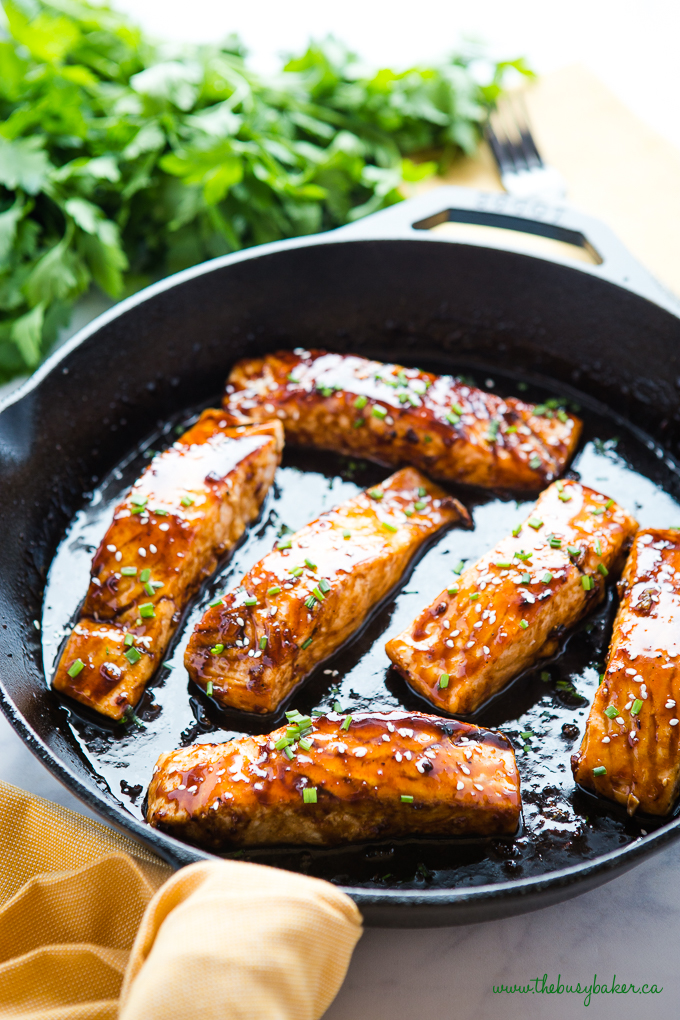 Easy One Pan Maple Glazed Salmon in cast iron pan