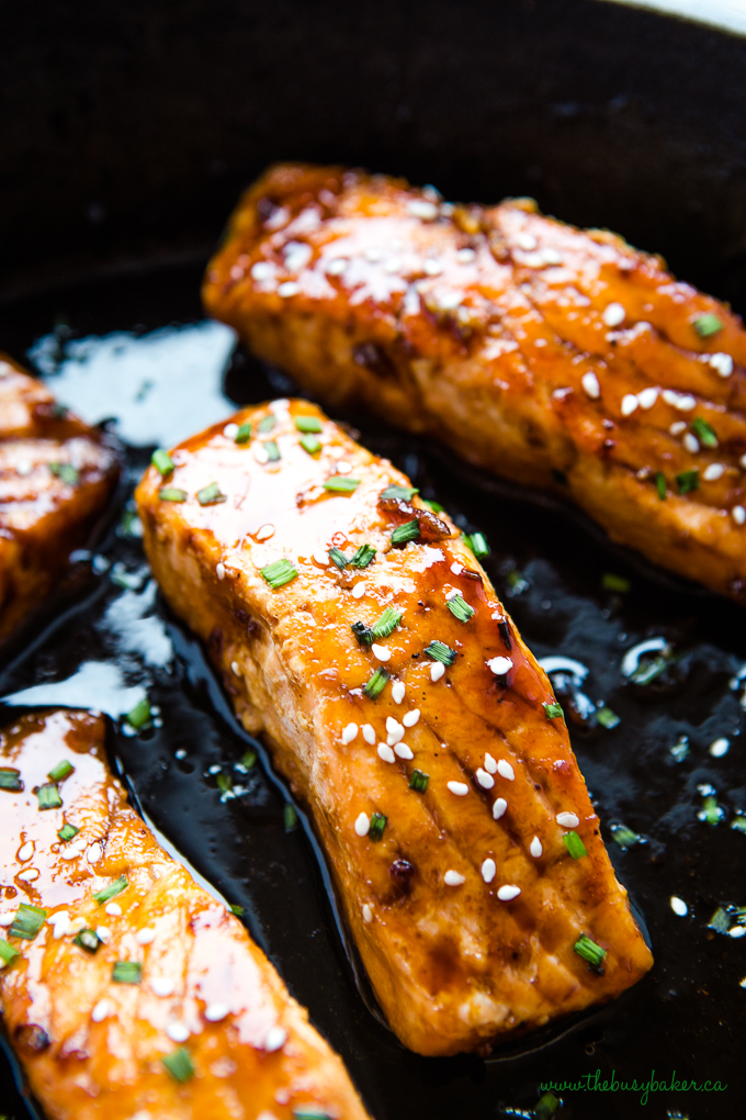 Easy One Pan Maple Glazed Salmon with sesame seeds and chives