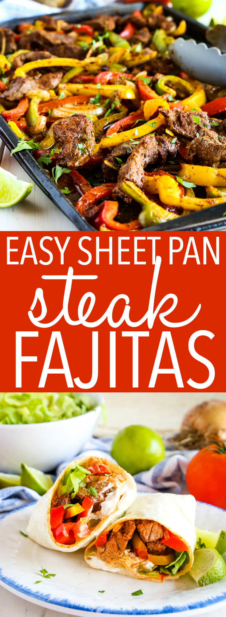 These Easy Sheet Pan Steak Fajitas make the perfect simple and healthy weeknight meal for busy families! Made with lean beef, fresh veggies and your favourite Mexican-style fixings! Recipe from thebusybaker.ca! #fajitas #mexican #steak #beef #healthy #familymeal #mealprep #easymeal #recipe #easy #texmex #foodblog via @busybakerblog