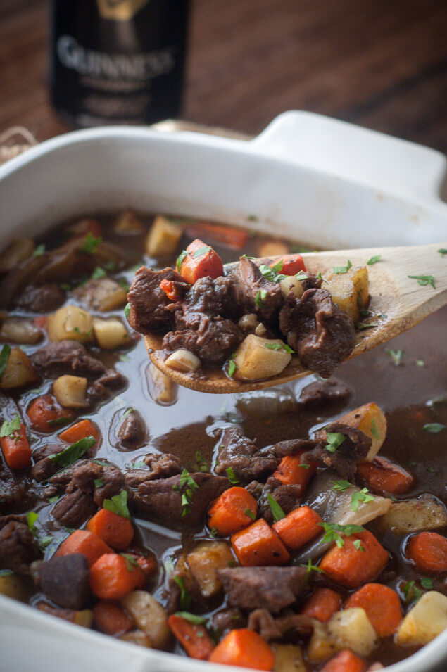 bowl of slow cooker Irish beef stew