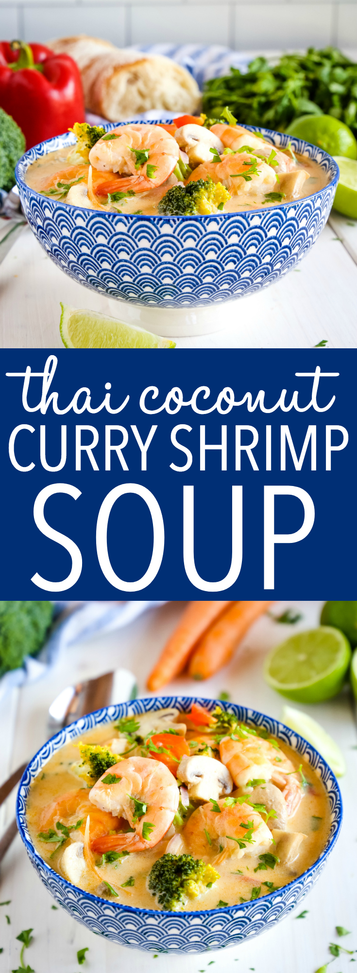 This Thai Coconut Curry Shrimp Soup is packed with vegetables and bursting with Thai flavours! It's dairy-free and comes together in 30 minutes or less! Recipe from thebusybaker.ca! #soup #thai #shrimp #seafood #healthy #veggies #dinner #30minutes #meal #family #blue #asian #padthai #curry #coconut #dairyfree #creamy via @busybakerblog
