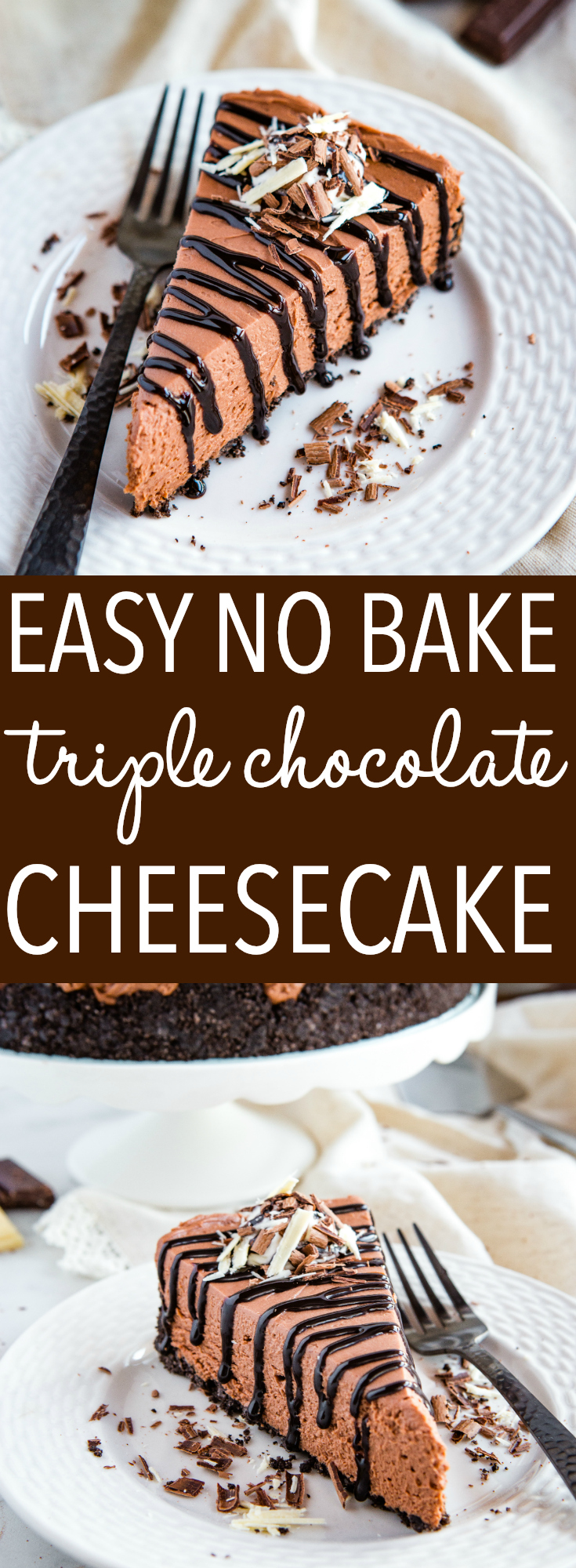 This Easy No Bake Triple Chocolate Cheesecake is the perfect easy dessert for chocolate lovers! It's so creamy and delicious - no baking required! Recipe from thebusybaker.ca! #recipe #cheesecake #triplechocolate #chocolate #cake #baking #nobake #dessert via @busybakerblog