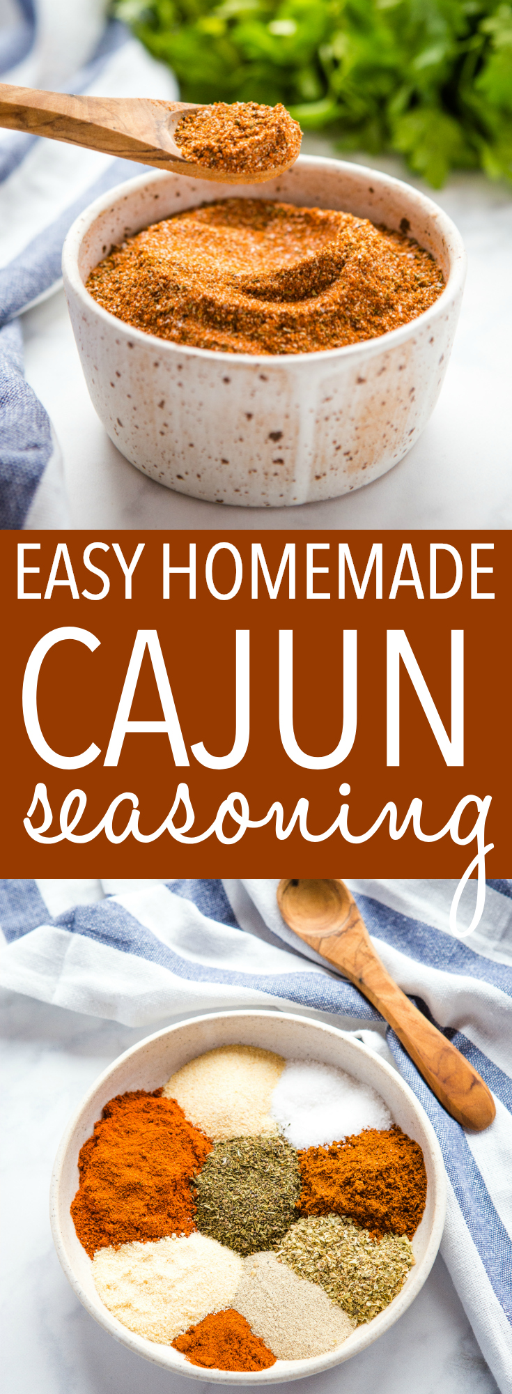 This Easy Homemade Cajun Seasoning Blend is better than any store-bought Cajun seasoning, and it's so easy to make at home! Make it spicy or mild, to your family's tastes! Recipe from thebusybaker.ca! #cajun #seasoning #homemade #DIY #spices #spicy #mild #chicken #shrimp #fish #barbecue #grilling #summer #savemoney #pantry via @busybakerblog