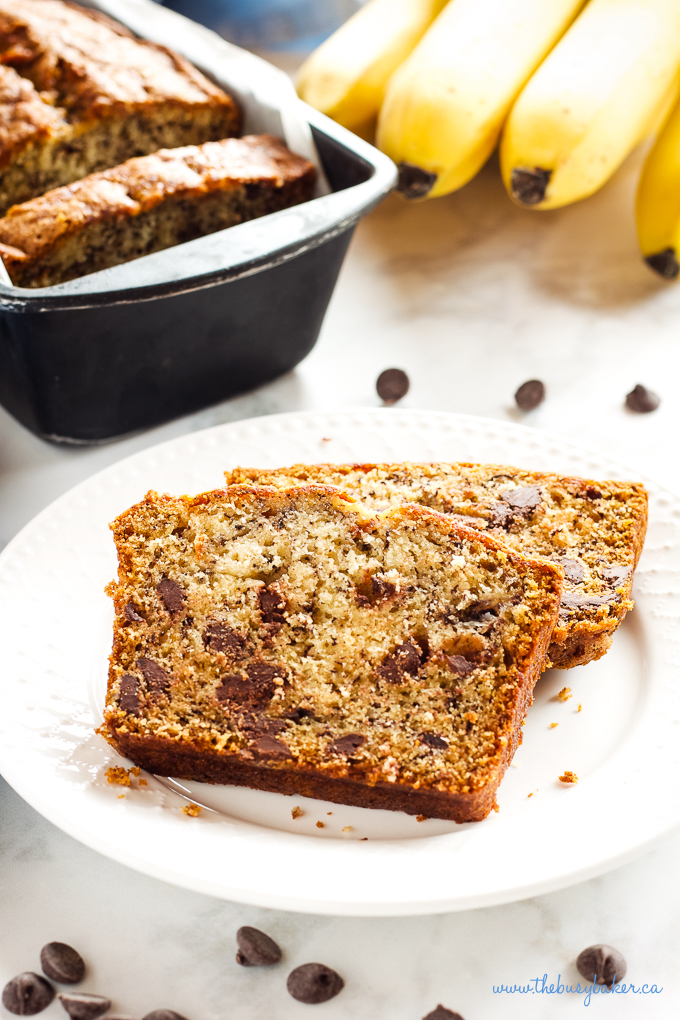Best Ever Chocolate Chip Banana Bread slices on plate