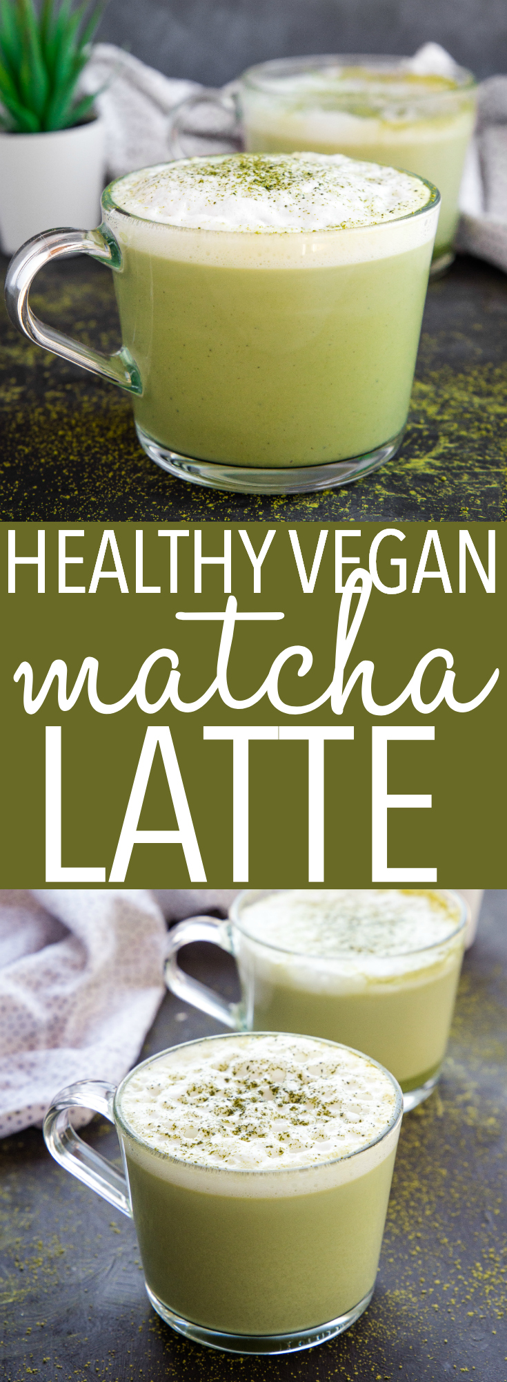 This Healthy Matcha Latte is a delicious way to enjoy the earthy flavour and health benefits of green tea, without refined sugar, dairy-free and vegan! Recipe from thebusybaker.ca! #matcha #greentea #healthy #starbucks #copycat #latte #coffee #drink #green #vegan #dairyfree #coconut #soy #almond via @busybakerblog