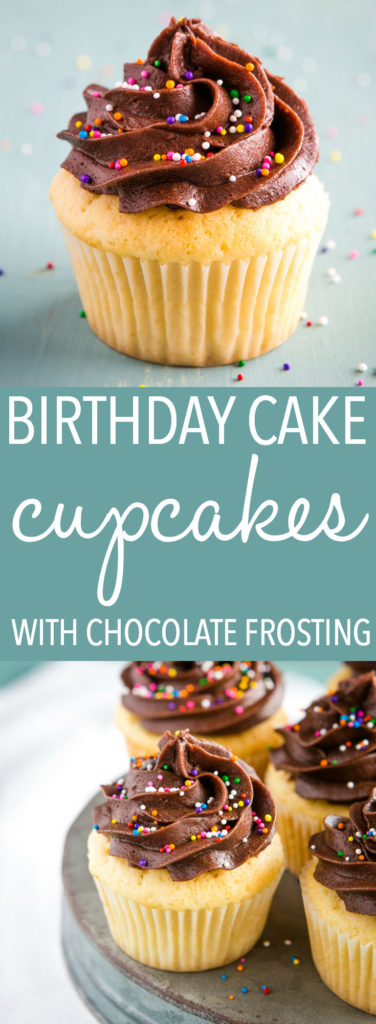 Birthday Cake Cupcakes with Chocolate Frosting Pinterest
