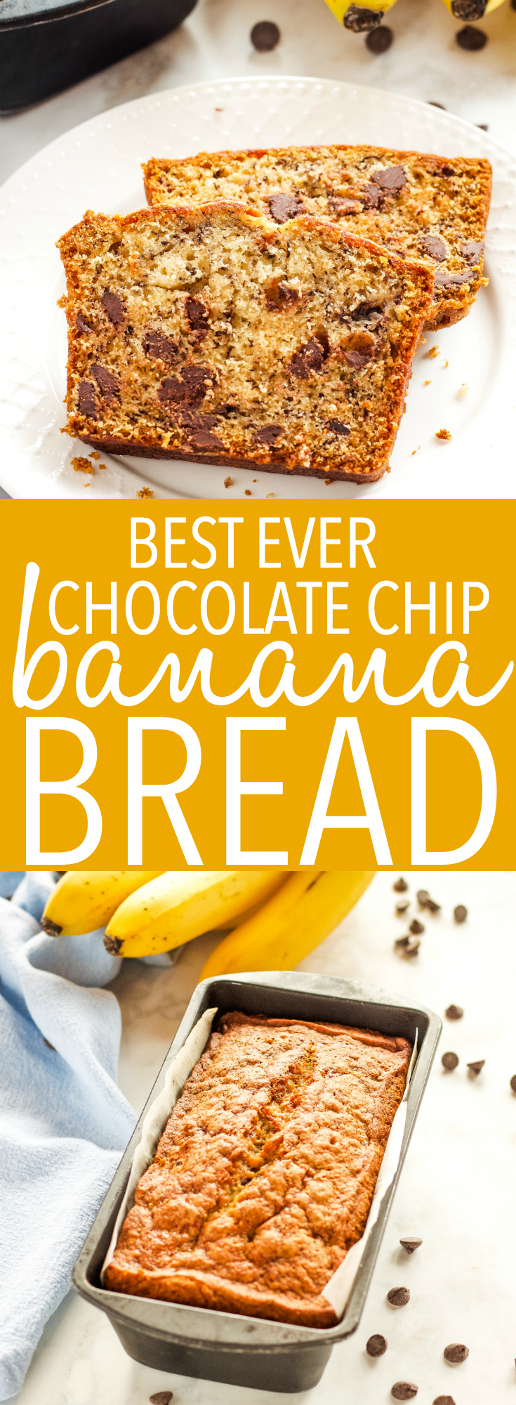 This Best Ever Chocolate Chip Banana Bread is the perfect no-fail breakfast, snack or sweet treat that's easy to make and bakes up perfectly every single time! Recipe from thebusybaker.ca! #banana #bread #muffins #easyrecipe #recipe #quickbread #baking #homesteading #homemade #fruit #healthy #dessert #treat #sweet via @busybakerblog