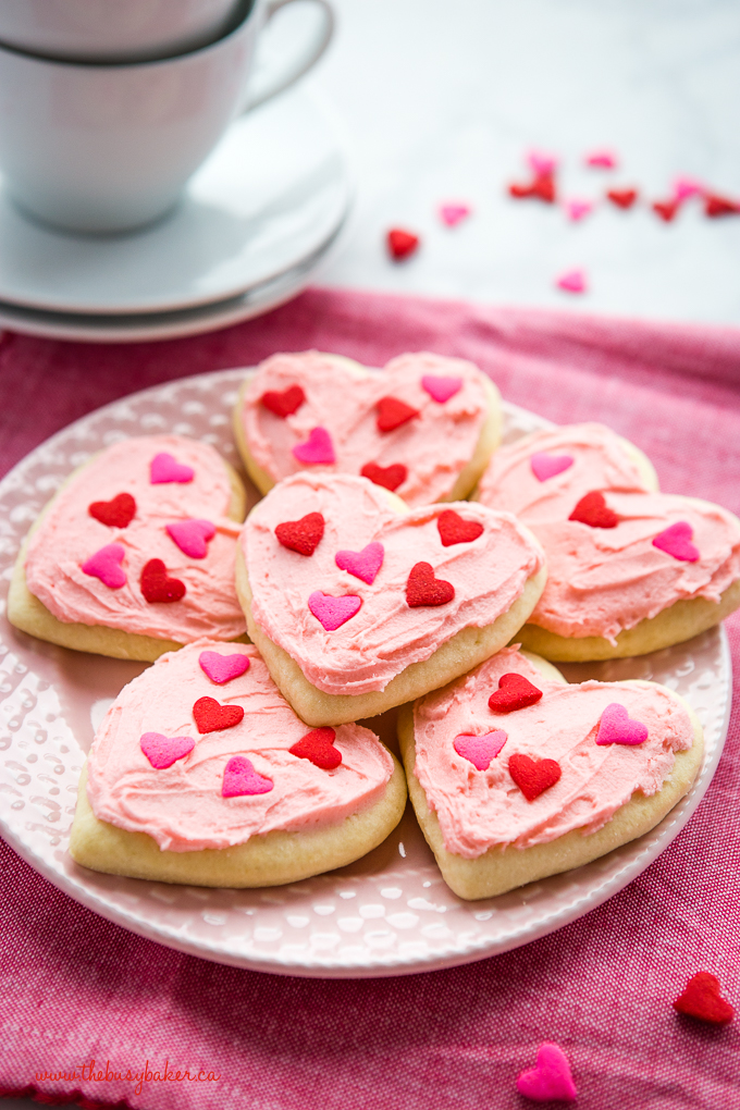 Classic Sour Cream Sugar Cookies on pink plate