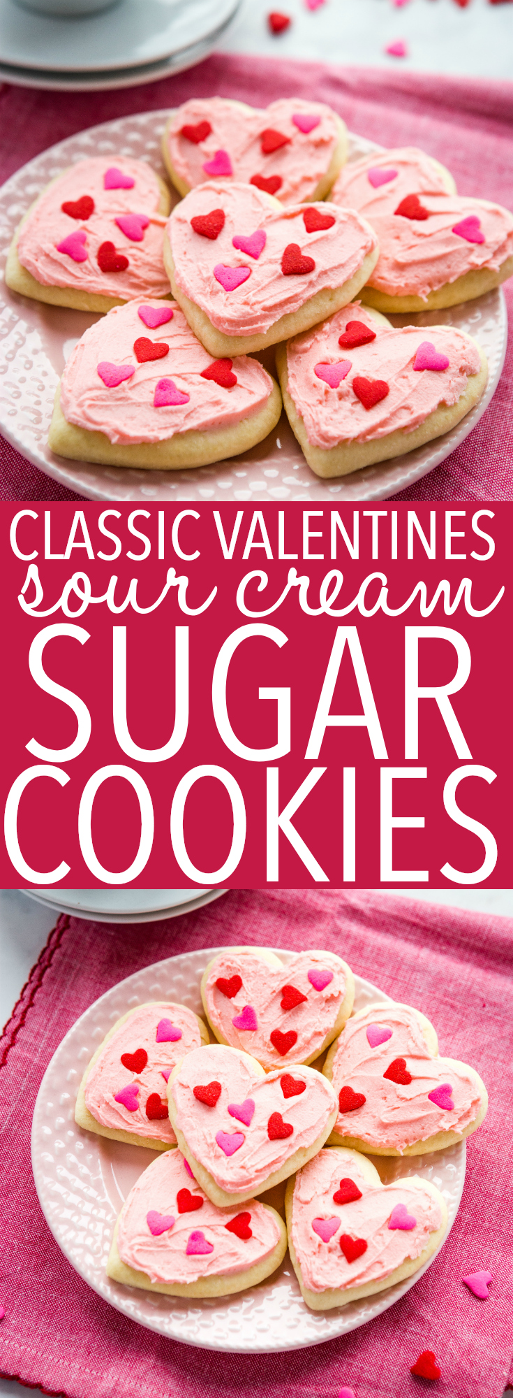 These Classic Sour Cream Sugar Cookies are the perfect old fashioned treat! With simple instructions for the perfect soft & chewy sugar cookies every time! Recipe from thebusybaker.ca! #valentinesday #sugarcookies #cookies #homemade #sourcream #easyrecipe #dessert #hearts #heartcookies #cookiecutters via @busybakerblog