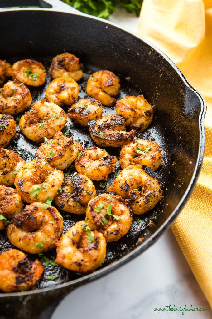Easy One Pan Cajun Shrimp in cast iron pan