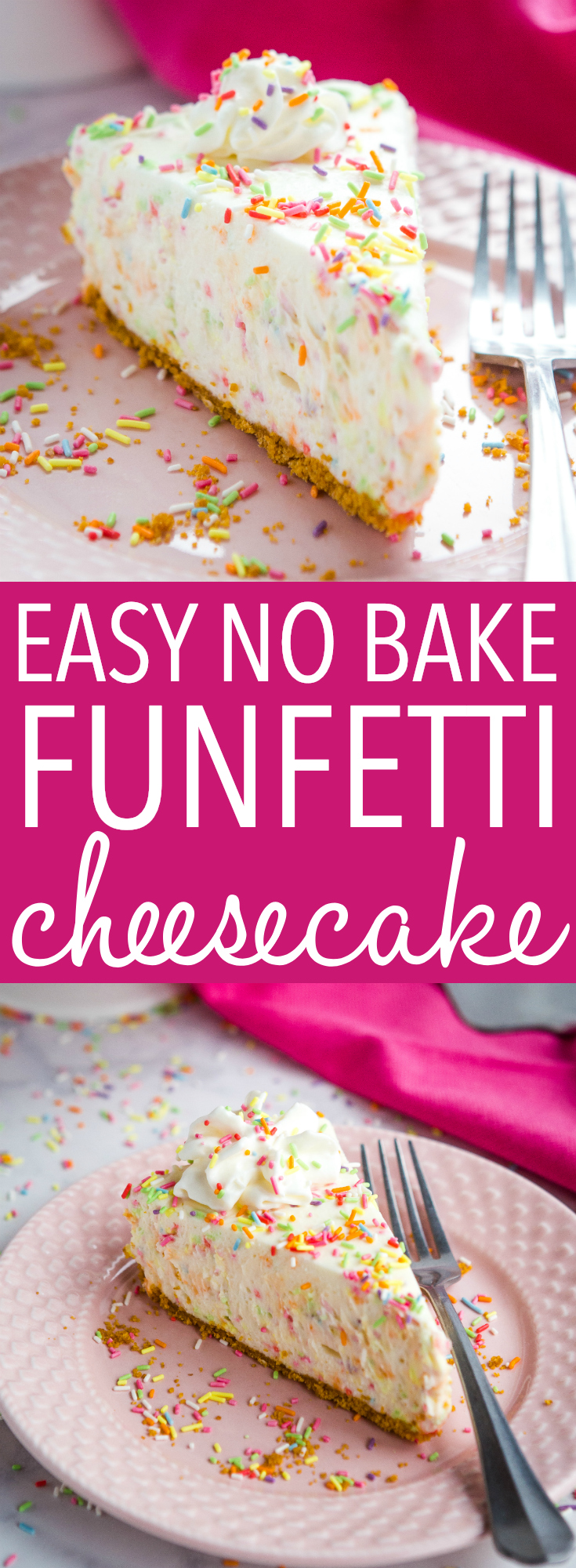 This Easy No Bake Funfetti Cheesecake is the perfect birthday cake-inspired cheesecake that's so easy to make, no baking required! Recipe from thebusybaker.ca! #cheesecake #funfetti #birthdaycake #sprinkles #chocolate #cake #dessert #nobake #baking via @busybakerblog
