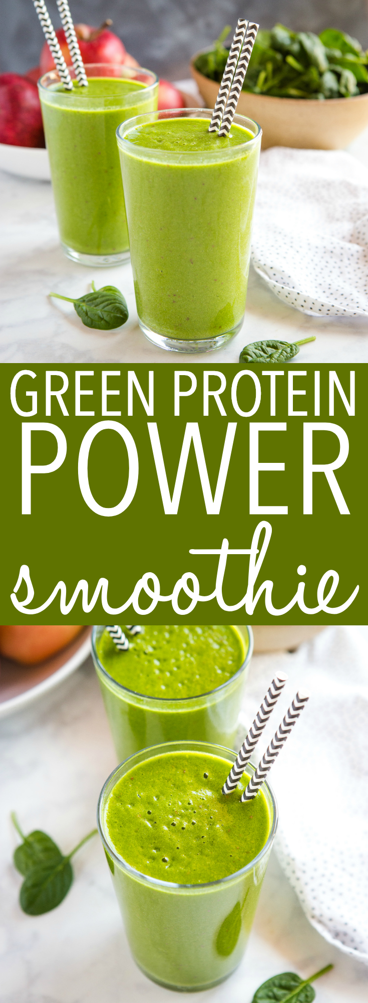 This Healthy Green Protein Smoothie makes the perfect healthy breakfast or post-workout snack! It's packed with greens, healthy fruits, and it's vegan and dairy-free! Recipe from thebusybaker.ca! #greens #smoothie #vegan #dairyfree #vegetarian #plantbased #workout #fitness #juice #juicing #blendtec #vitamix via @busybakerblog