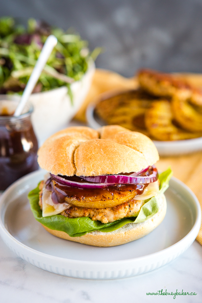 Hawaiian Turkey Burgers on crispy bun