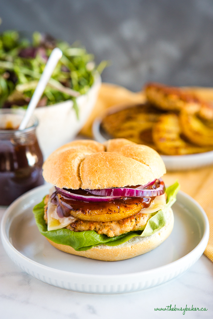 Hawaiian Turkey Burgers with barbecue sauce
