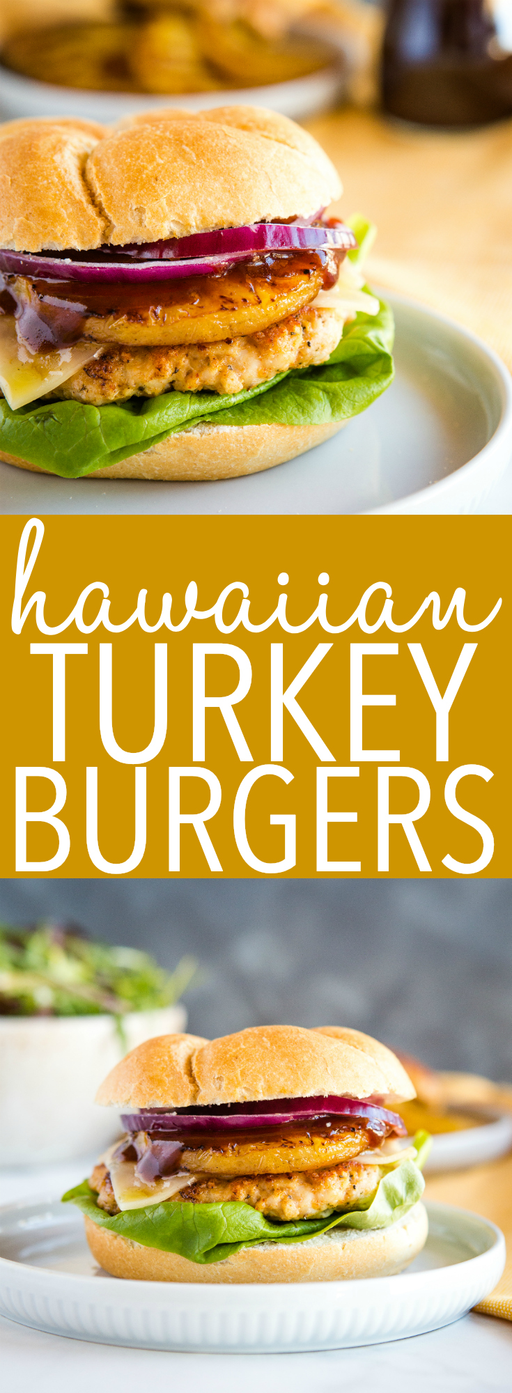 These Hawaiian Turkey Burgers are low in fat and bursting with smoky flavour! Top them with fresh grilled pineapple and barbecue or teriyaki sauce! Recipe from thebusybaker.ca! #burgers #summer #grilling #hawaii #hawaiian #grilled #pineapple #teriyaki #barbecue #healthy #lowfat #lowcalorie #turkey #chicken #lean #protein via @busybakerblog