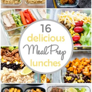 photo colllage of meal prep lunch recipes